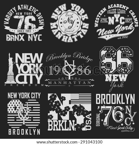 New York City Typography Graphics logo set, T-shirt Printing Design; NYC original wear, Vintage Print for sportswear apparel - vector illustration - stock vector