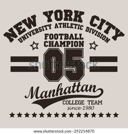 New York City Typography Graphics logo, T-shirt Printing Sport Number Design; Football original wear, Vintage Print for sportswear apparel - vector illustration - stock vector