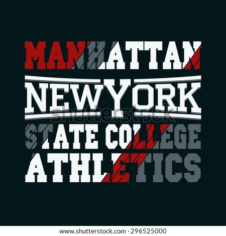 New York City Typography Graphics, Manhattan T-shirt Printing Design, USA original wear, Print for sportswear apparel - vector illustration - stock vector