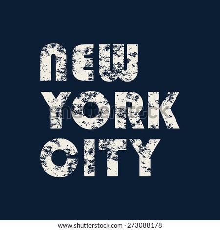 New York City typography, t-shirt graphics. vector illustration - stock vector