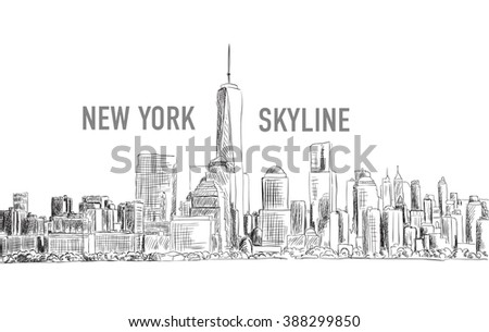 New York city, vector drawing in sketch outline style for your design - stock vector