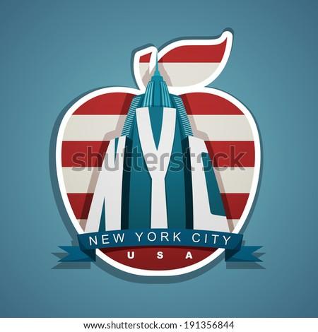 New York city vector emblem with skyscraper, ribbon and big apple - stock vector