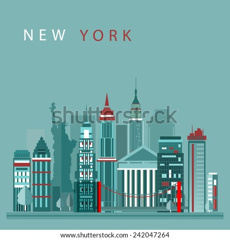 New York city vector illustration, skyline city silhouette, skyscraper, flat design - stock vector