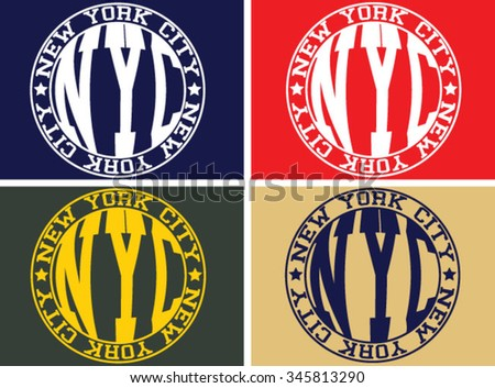 New York  City  vector print and varsity. For t-shirt or other uses in vector. - stock vector