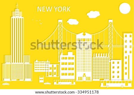 New York city vector skyline in style of paper cut. - stock vector