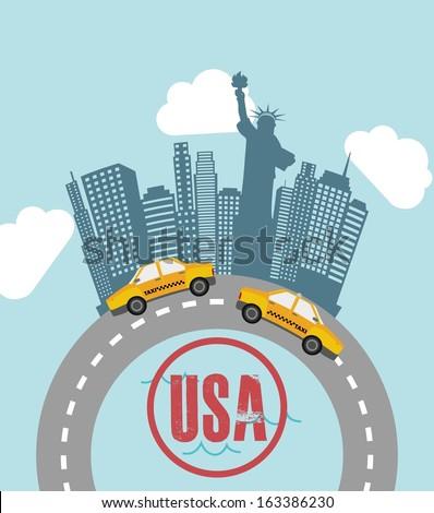 new york design over sky background vector illustration - stock vector