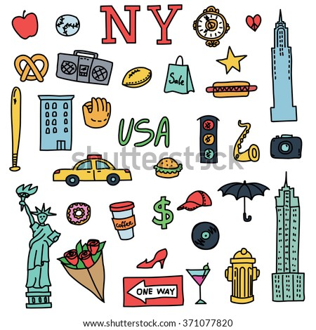New York doodle line set. Hand drawn elements. American travel symbols. Vector pattern.