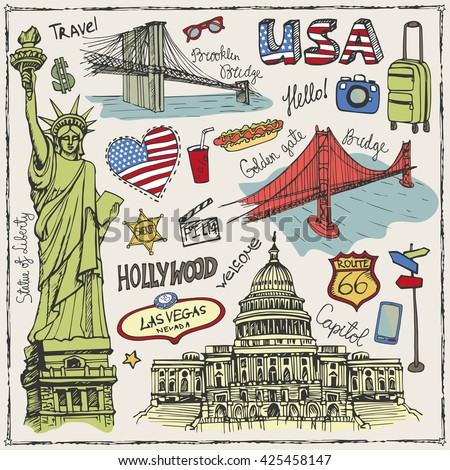 New York Doodle set.American travel symbols.Hand drawn sketch.Vector USA icons,sign of landmark,lettering.Vintage America Illustration,background.Golden gate bridge,Statue Of Liberty,Brooklyn bridge