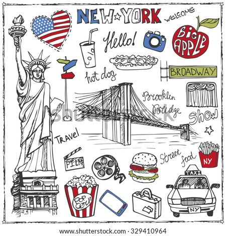 New York Doodle set. American travel symbols in hand drawn sketch. Vector icons, sign of landmark, food, lettering, retro Illustration, background. - stock vector