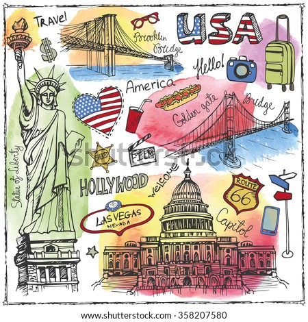 New York Doodle set.American travel symbols in hand drawn sketch.Watercolor splashes.Vector icons,sign of landmark,lettering.Vintage Illustration,background.Artistic texture.