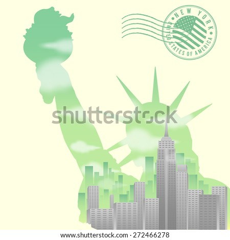 New York Double Exposure - stock vector