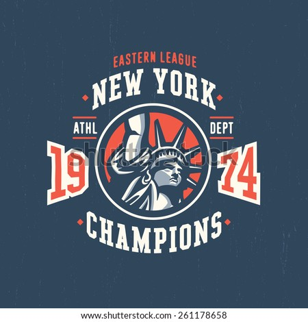 New York Eastern League Champions 1974 Varsity T shirt Apparel Graphic Design. Vintage American Textured Sport Fashion Tee Print. Hand Drawn Liberty Statue Vector Illustration.  - stock vector