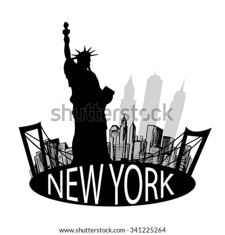 New York famous building and Liberty statue - stock vector