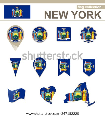 New York Flag Collection, USA State, 12 versions - stock vector