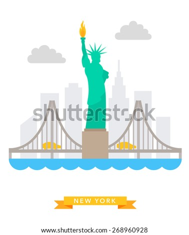 New-York flat background vector on white background - stock vector