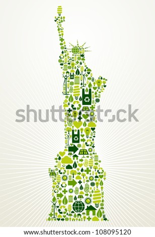 New York go green. Eco friendly icon set in Statue of Liberty shape illustration background. Vector file layered for easy manipulation and custom coloring. - stock vector