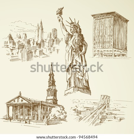 new york - hand drawn collection - stock vector