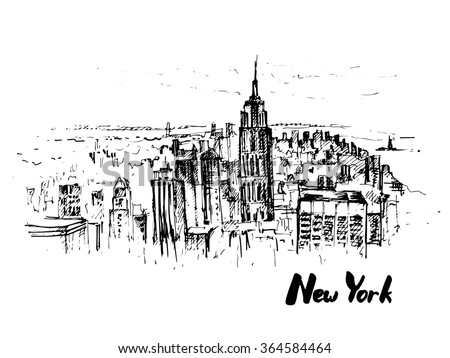 New York. Hand drawn sketch. Vector illustration. - stock vector