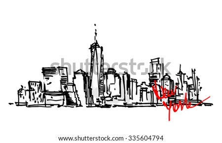 New York hand drawn view. Black and white graphic - stock vector