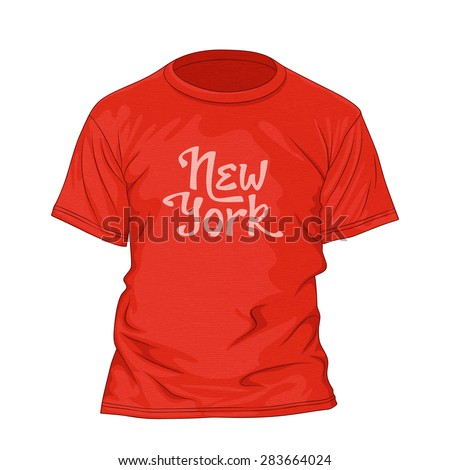 New York hand lettering. T-shirt design template with texture. Vector illustration - stock vector