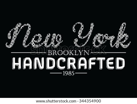 New York  Handcrafted vector print and varsity. For t-shirt or other uses in vector. - stock vector