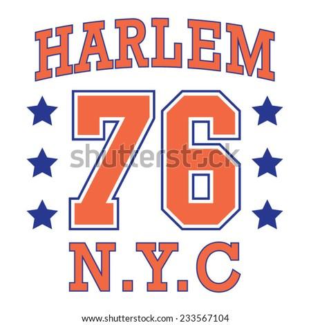 New york Harlem college typography, t-shirt graphics, vectors - stock vector