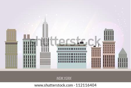 New York houses - stock vector