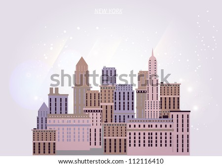 New York houses background - stock vector