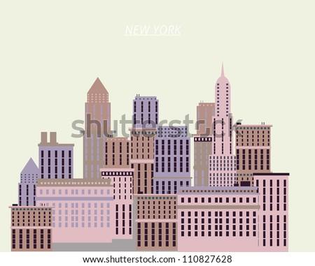 New York houses illustration - stock vector