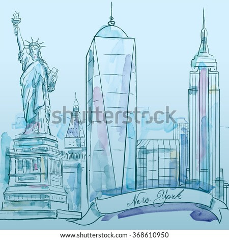 New York iconic building vector watercolor sketch - city architecture - stock vector