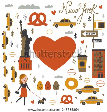 New York love - stock vector
