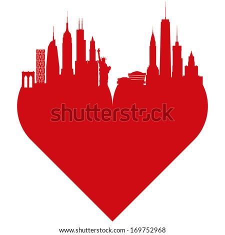 New York love heart. I love New York. - stock vector