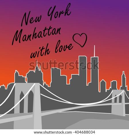 New York Manhattan card. Skyline. T-shirt design. - stock vector