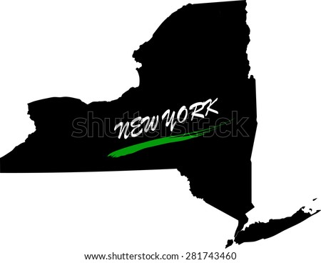 New York map vector in black and white background, New York map outlines in a new design - stock vector