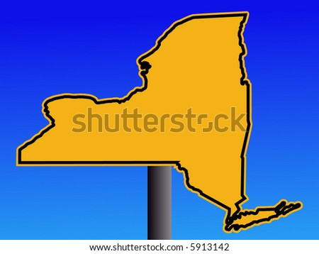 New York map warning sign