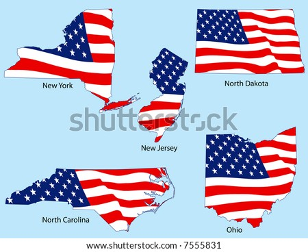 New York, New Jersey, North Dakota, North Carolina, Ohio outlines with flags, each individually grouped