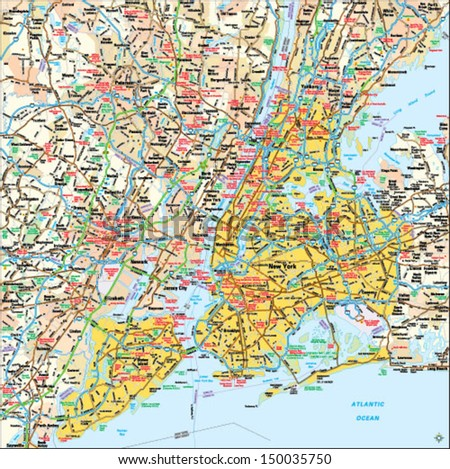 New York, New York area map - stock vector