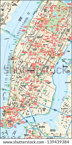 New York, New York downtown map - stock vector
