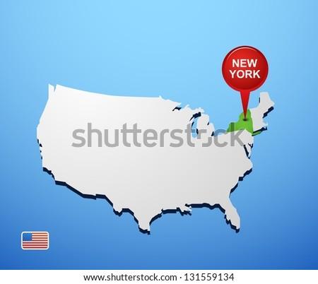 New York on USA map - stock vector