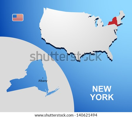 New York on USA map with map of the state