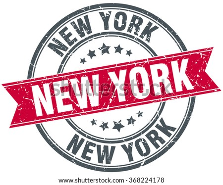 New York red round grunge vintage ribbon stamp - stock vector