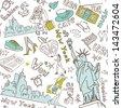 New York seamless doodles pattern - stock vector