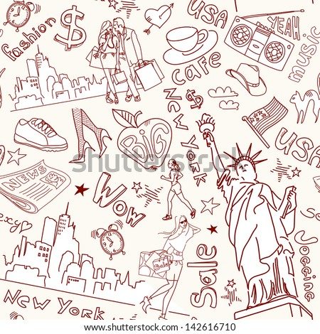 New York seamless doodles pattern - stock vector