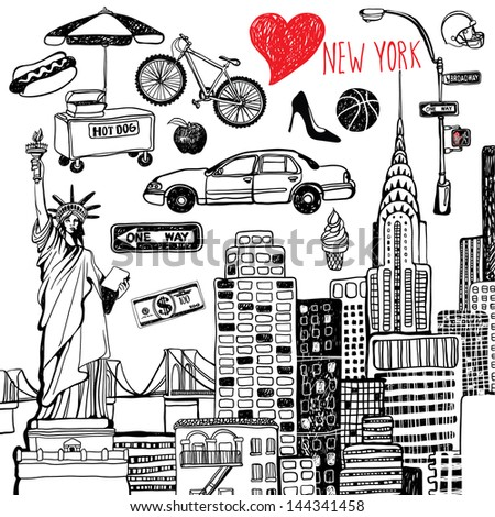 New York set - stock vector