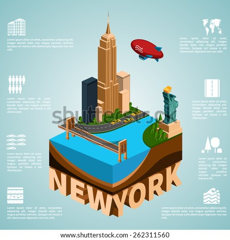 New York. Set of detailed isometric vector. Statue of Liberty, Empire State Building, Brooklyn Bridge. Infographics EPS 8. - stock vector