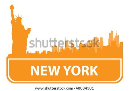 New York sity outline. Vector illustration - stock vector