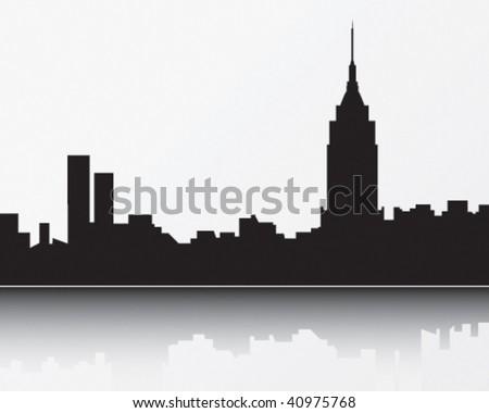 New York Skyline, black - stock vector