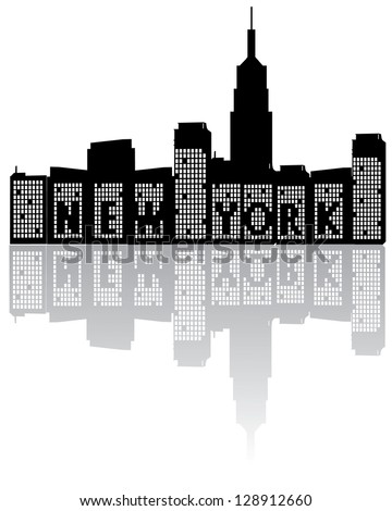 New York Skyline Black and White EPS 8 vector, grouped for easy editing. No open shapes or paths. - stock vector