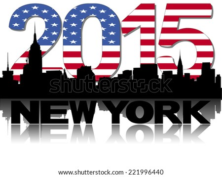 New York skyline 2015 flag text vector illustration - stock vector