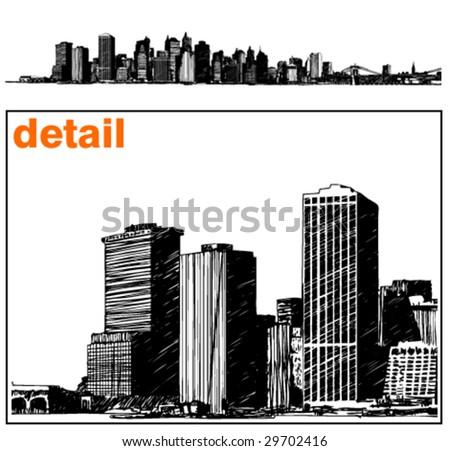 new york skyline illustration - stock vector